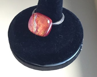 Sterling Adjustible Fused Glass Ring
