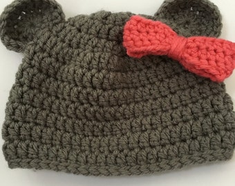 Handmade crochet bear beanie hat, with or with removable bow, gender neutral, boy, girl, newborn size, baby, made to order