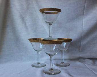 Gold Trimmed Champagne Goblets, #413