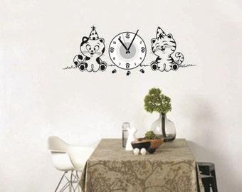 Cat Home Decor Wall Clock Wall Decal Sticker Vinyl Real Clock