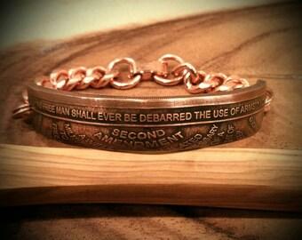 RCR Original 2nd Amendment Bracelet - Hand Forged .999 Pure Copper Coin Bracelet