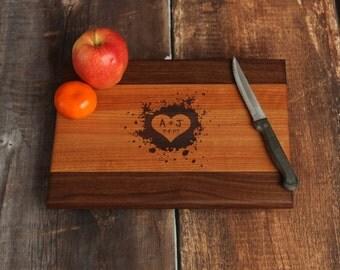 Personalized Cutting Board, Heart Design Custom Cutting Board, Walnut and Cherry,