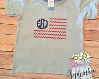 TODDLER American Flag Shirt - TODDLER 4th of July Shirt - Toddler Monogram American Flag Shirt- TODDLER Monogram Shirt - 4th of July Shirt