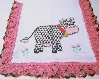 Applique Big Cow Crochet Kitchen Towel
