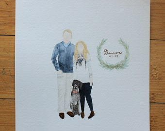 Custom Watercolored Family Painting