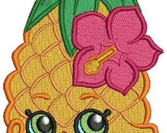 Pineapple Crush Shopkins Inspired PES Embroidery Machine Design