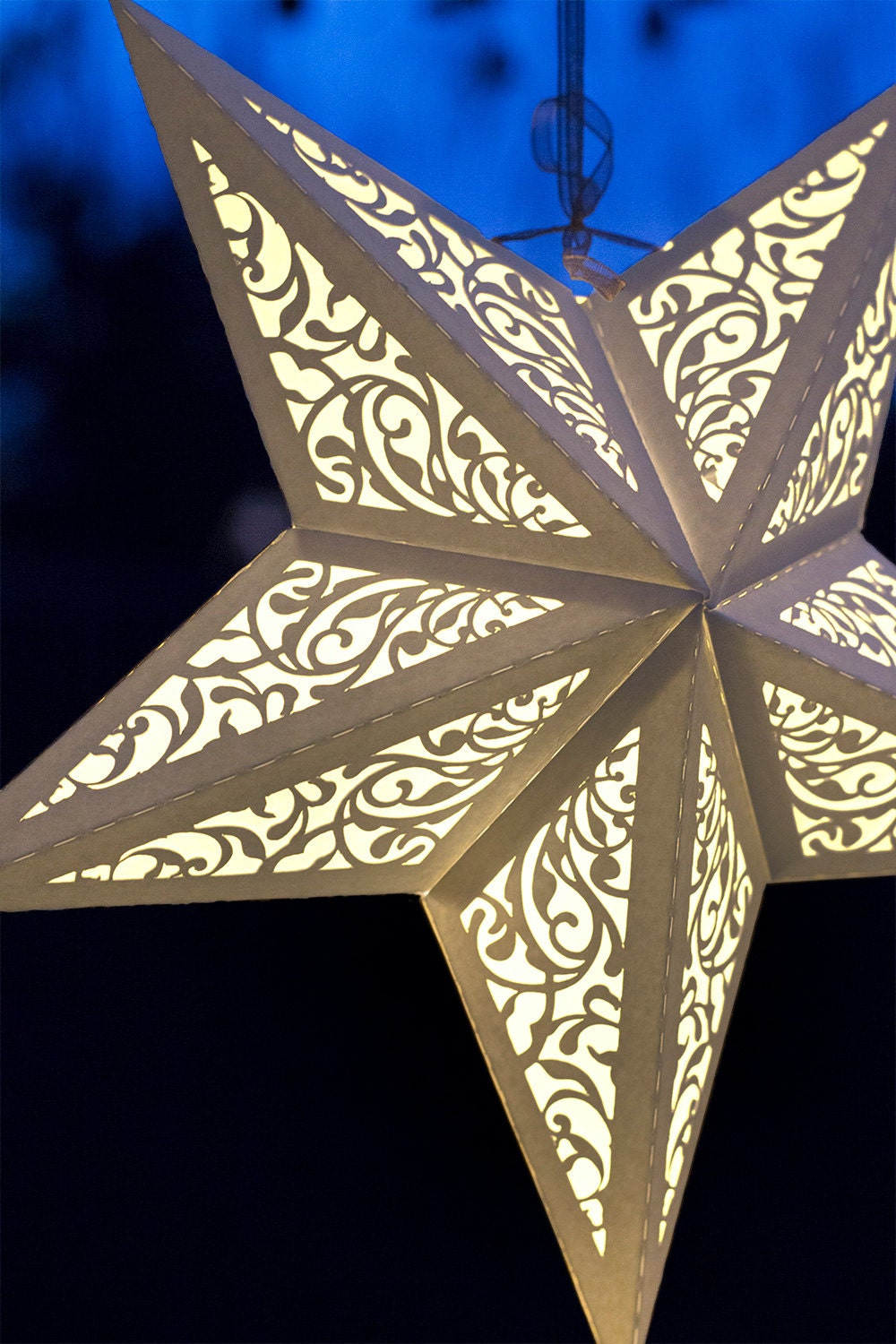 new paper star lantern w flourishes svg cutting file pdf