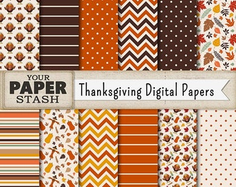 Thanksgiving Digital Paper Pack, Autumn, Wedding, Fall, Thanksgiving, Turkey, Scrapbook Paper, Scrapbook page, Commercial Use, Scarecrow