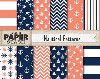 Nautical Digital Paper, Navy Blue & Coral, Nautical, Sailboats, Helm, Anchors, Wide Striped, Chevron, Scrapbooking Paper, Commercial Use