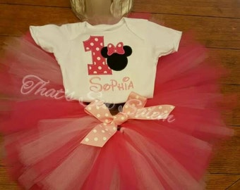 Minnie mouse first birthday outfit