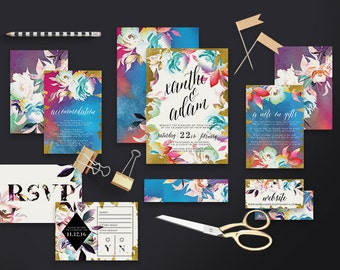 "Printable Wedding Invitation Suite ""Saltie"" - Printable DIY Invite, Affordable Wedding Invitation"