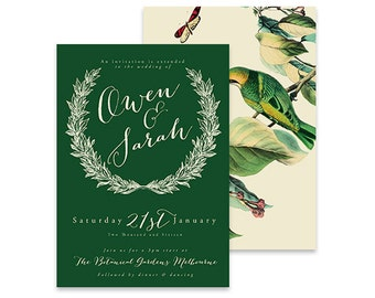 Green Wedding Invitation | Birds of a Feather | Printable DIY Invite, Affordable Wedding Invitation | Wreath invitation with vintage birds