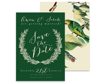 Green Save the Date Invitation | Birds of a Feather | Printable DIY Wedding Invite | Vintage invite with botanical florals