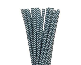 Paper Straws, Navy Blue Chevron Paper Straws, Navy Police Party Straws, Little Man Party Decor, Navy Wedding Straws, Nautical Paper Straws