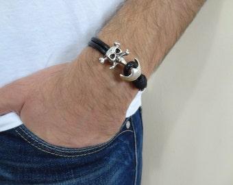 EXPRESS SHIPPING,Men's Black Leather Bracelet, Men's Jewelry, Silver Skulls Bracelet, Double Men's Cuff Bracelet, Valentine's Gifts