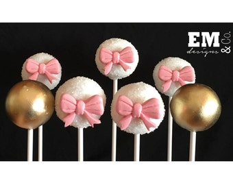 Pink, white and gold cake pops!