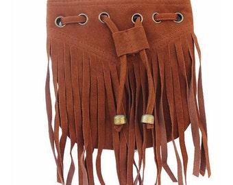 Kids Brown Fringe Messenger Bag