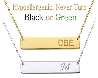Monogram Necklace, Initial Necklace, Bar Necklace,  Name Necklace, Custom Name Necklace, Gold Bar Necklace,  bridesmaid gift