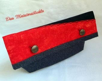 Black Red clutch bag purse with handle