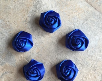 """1.5"""" Rose Rosettes, ROYAL BLUE, satin flowers, rolled flowers, materal flowers, blue flowers, head band supply, head bands, silk flowers"""