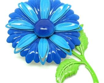 Vintage 1960s Brooch | Blue Brooch | Enamel Brooch | Flower Brooch | Vintage Pin | Statement Brooch | 1960s Pin | Blue Pin | Floral Pin