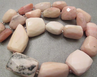 Pink Peruvian Opal Faceted Graduated Nuggets Beads 21pcs