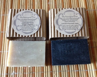 Vegan all natural Exfoliating/detox Collection (2) Activated Charcoal, and Chamomile Neroli Soaps.