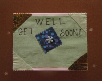 Handmade Get Well Soon Card, brown and mint with 3D embellishments