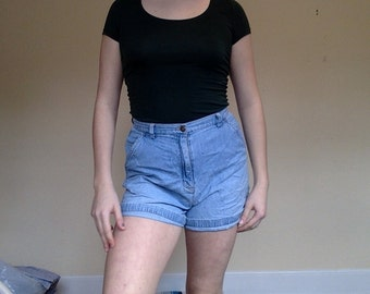 High Waisted Denim Pocket Shorts, Loop Denim Shorts, Denim Shorts, Size 10, Size 12, Denim High Waisted Shorts