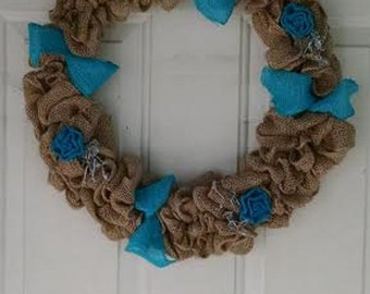 "16"" Burlap Wreath with Light Blue Burlap Roses and Ribbon"