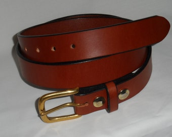 Sedgewickes bridle leather belt with a brass buckle and a leather loop