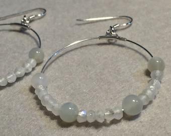 Moonstone and Crystal hoop earrings
