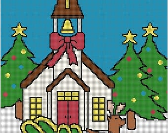 Winter Church 8x10 cross stitch pattern