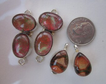 Mixed Lot Connectors, Fused Dichroic Glass and Sterling, 4 Pieces