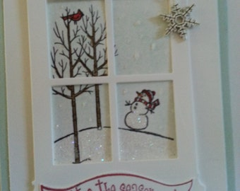 Looking through a snowy window (Snowman and a snowy landscape) holiday cards - set of ten