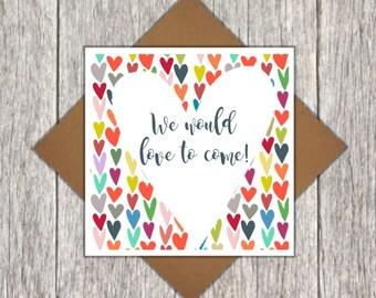 Wedding Acceptance Card - Wedding Regret Card - Wedding RSVP Card