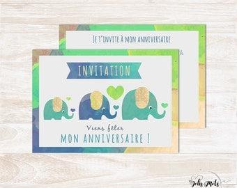 Kit birthday Invitation child supplement - elephant Theme