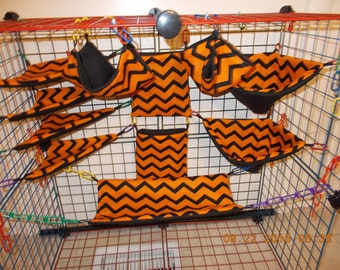 ORANGE BLACK ZIG Zag Sugar Glider 11 pc cage set