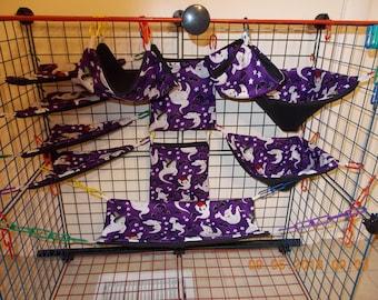 HALLOWEEN PURPLE GHOSTS Sugar Glider 11 pc cage set