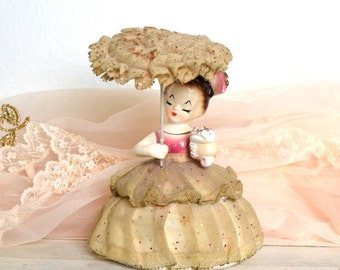 vintage porcelain girl figurine container