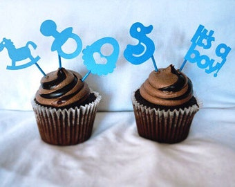 Blue Boy Cupcake Topper baby shower cupcake toppers