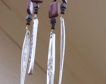 Stone bead wind chime - Recycled silverware wind chime - Beaded windchime - Upcycled windchime - Flatware wind chime - Spoon wind chime