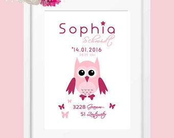 DIN A4 personalised birth data mural 'OWL', art print, print