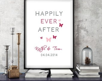 DIN A3 personalised art print anniversary wedding day mural 'Happily'
