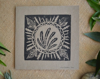 Handmade Linoprinted Flee Feathers Card