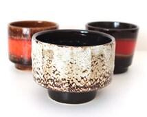 Fat lava flower pot ceramic planter plant pot brown beige Germany vintage planter 60s 70s
