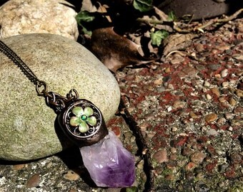 Handcrafted Wiccan / pagan Amethyst flower pendant