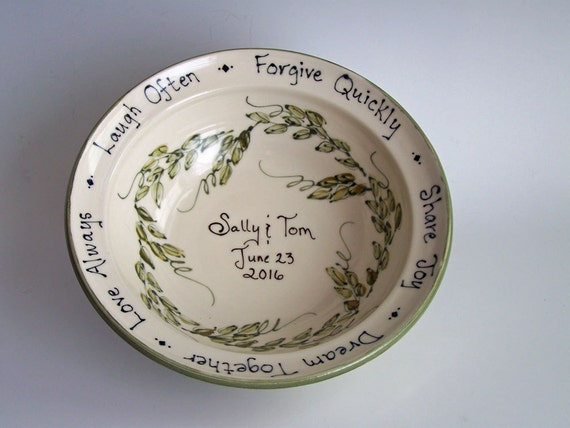 Personalized Pottery Wedding Bowl