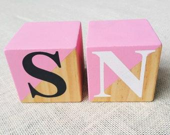 2 x ~ Pine, wood blocks ~ Custom colour ~ wood dipped ~ Personalised word/name blocks. 7x7cm