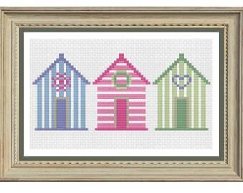 Beach huts cross stitch pattern downloadable pdf